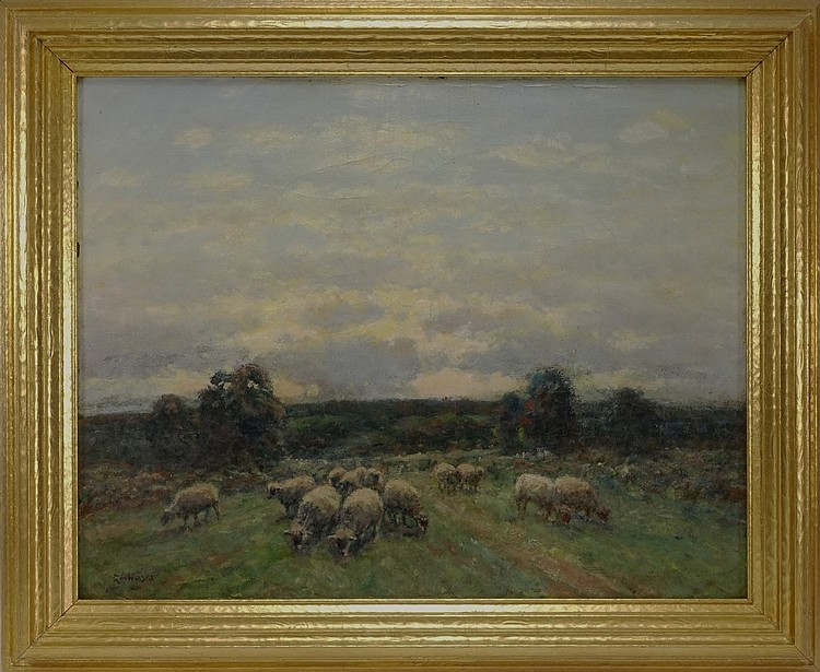 George A. Hays Sheep In Pasture O/C Painting