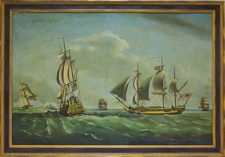 P. Rooney Quasi-War Privateer Ship Louisa Painting