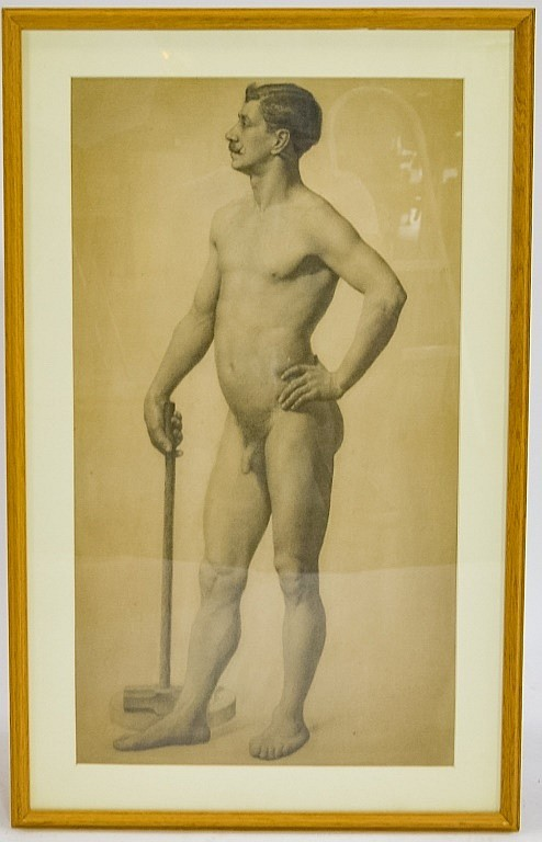 19C. Graphite Study Drawing of Male Nude Performer