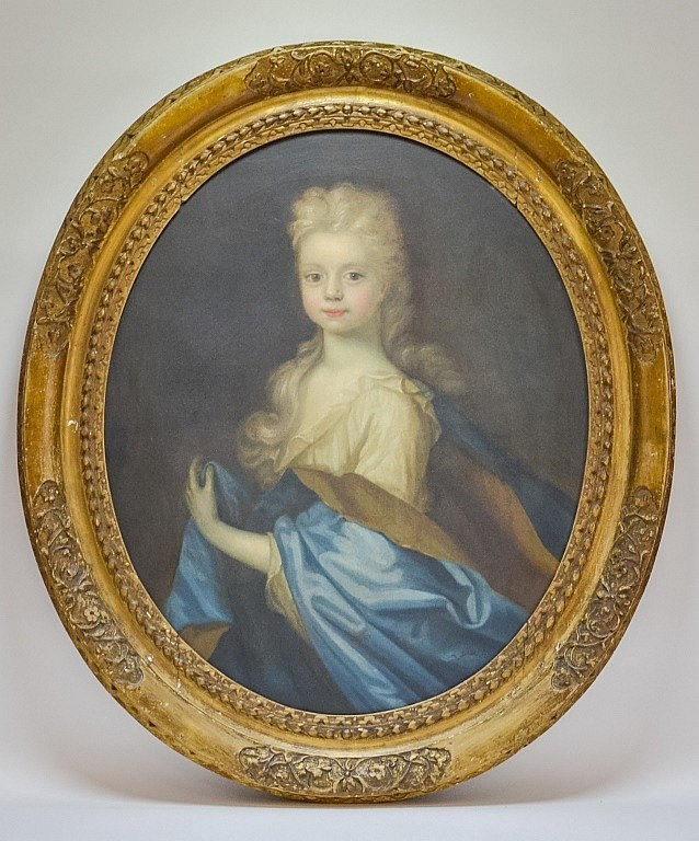 Signed A. Ditier 1712 Portrait Painting of Girl