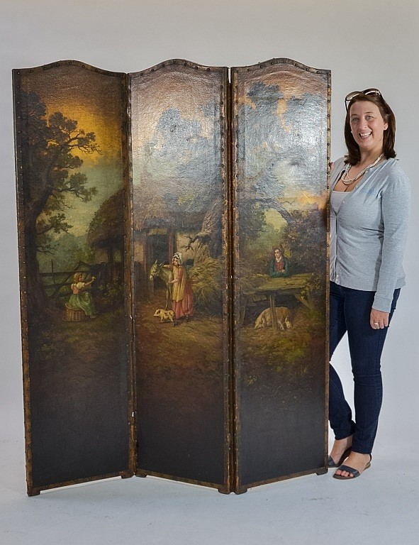 Antique 19C. Bucolic European Hand Painted Screen