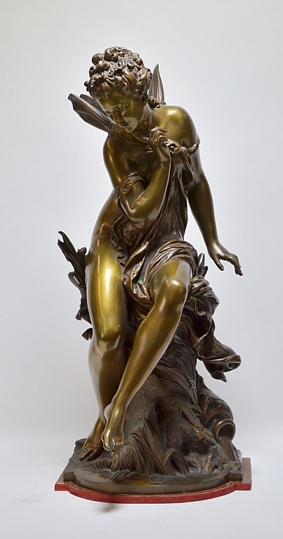 Mathurin Moreau Bronze Sculpture of Female Nymph