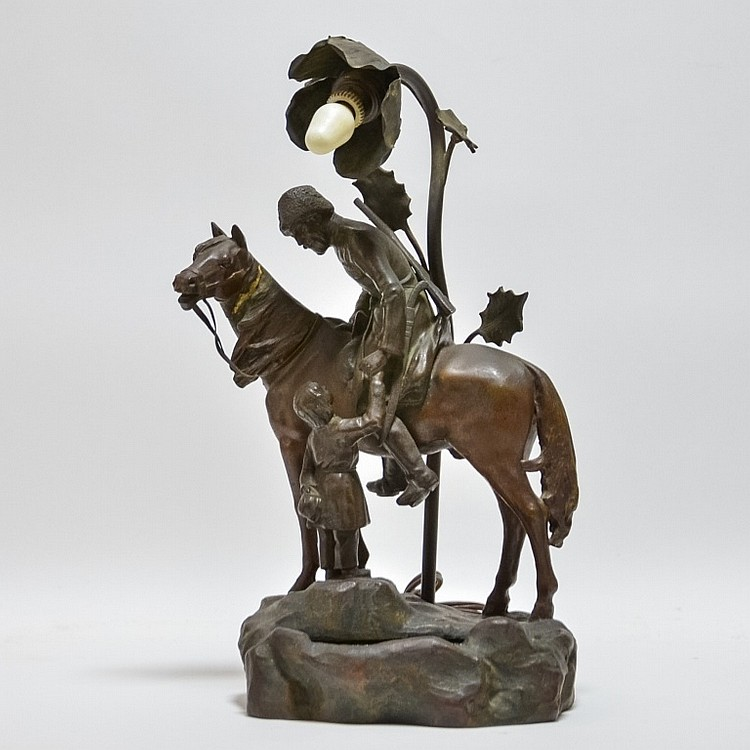 German Art Nouveau Patinated Spelter Cossack Lamp