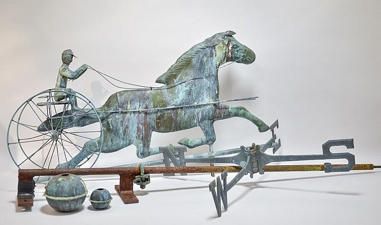 Vintage Copper Equestrian Sulky Rider Weathervane