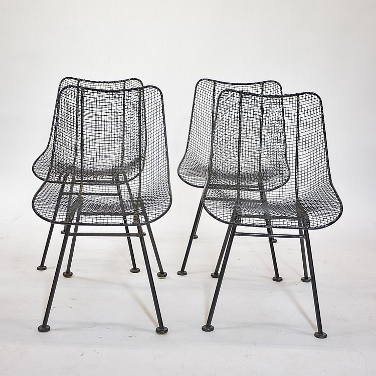 Set 4 MCM Russell Woodard Black Wire Mesh Chairs