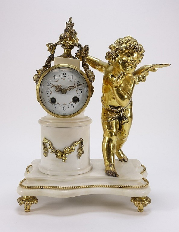 19C. French Gilt Bronze White Marble Cupid Clock