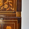 19C. Dutch Marquetry Inlaid Cylinder Roll Desk