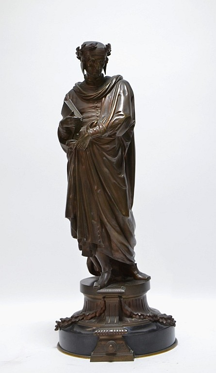 19C. Classical European Bronze Sculpture of Dante