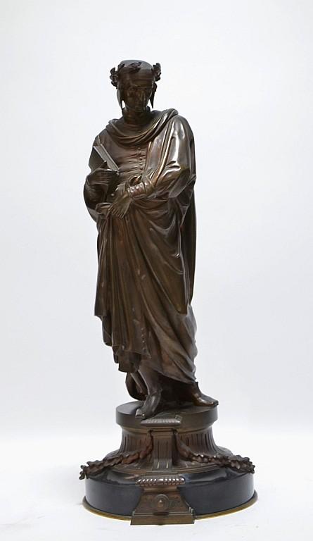 19C. Classical European Bronze Sculpture of Dante