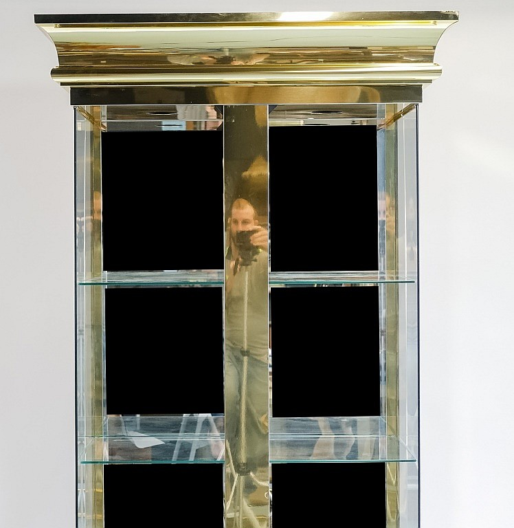 Large Brass Showcase Display Cabinet W/O Doors