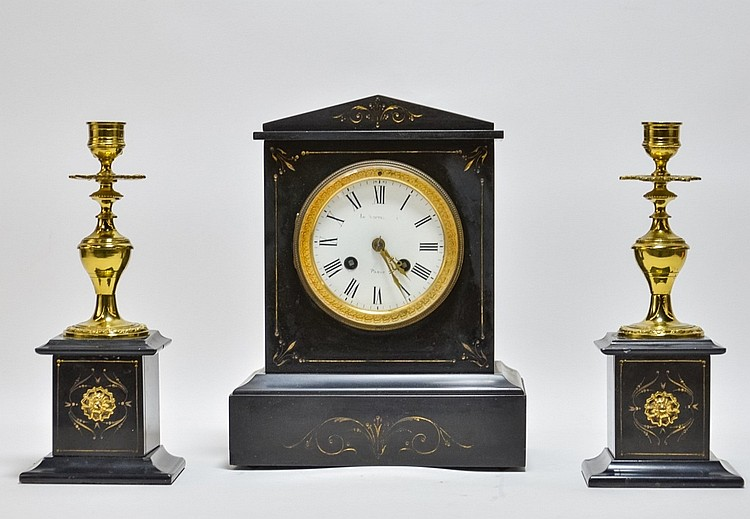 French Victorian Slate Gilt Brass Mantle Clock Set