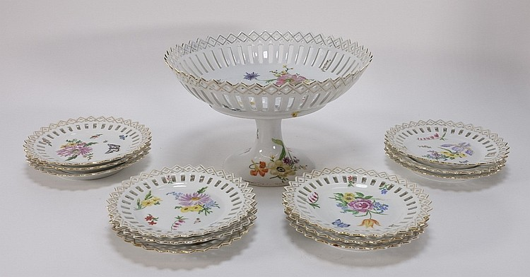 European Porcelain Dragonfly Butterfly Dessert Set