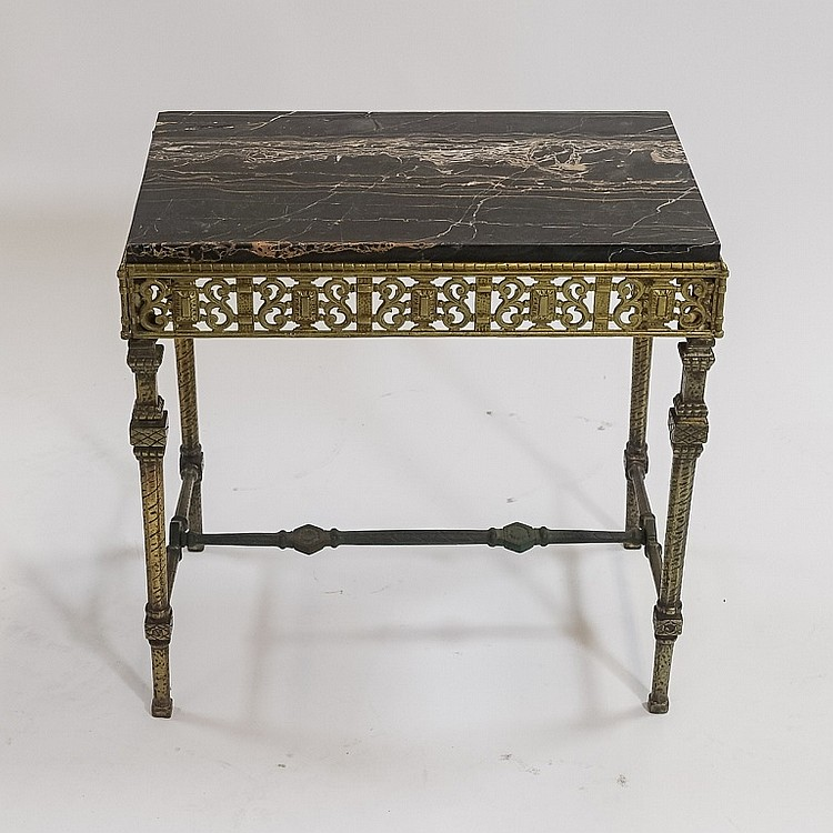 Antique Art Deco French Bronze & Iron Marble Table