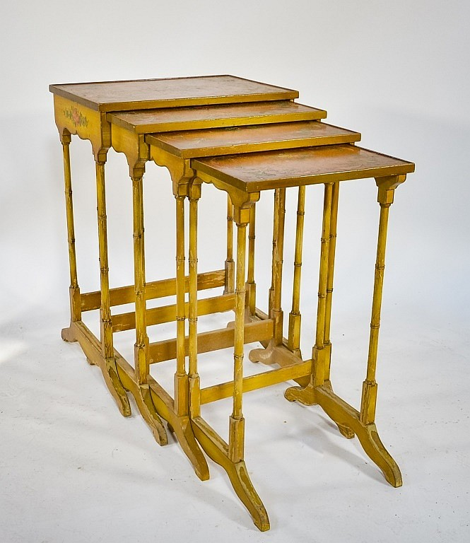 4 French C.1920 Floral Painted Nesting Tables