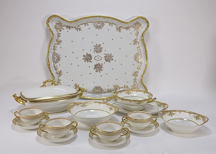 Haviland Limoges Gilt Porcelain Platter & Dishes