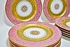 Set 12 Hutschenreuther Pink Gilt Porcelain Plates