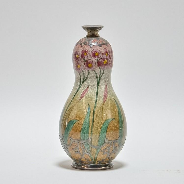 German Royal Bonn Art Nouveau Silver Overlay Vase