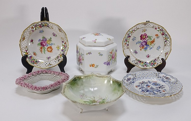 Group German Meissen Dresden Decorated Porcelain