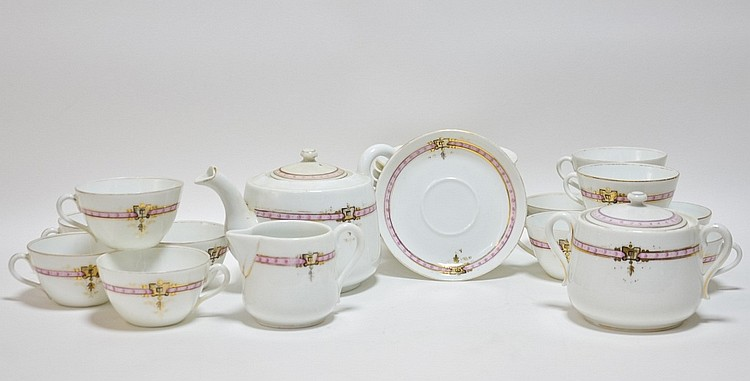 Russian M.S Kuznetsov Porcelain Gilt Pink Tea Set