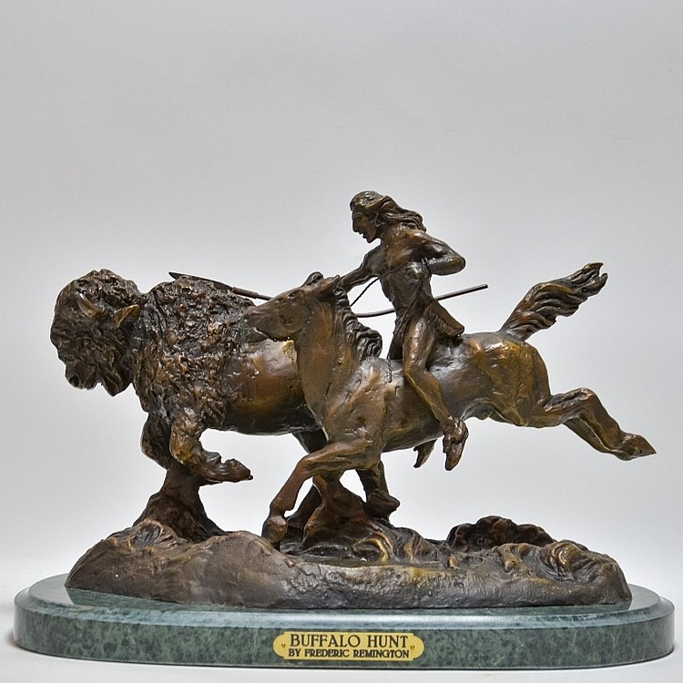 Aft. Frederic Remington Buffalo Hunt Bronze Figure
