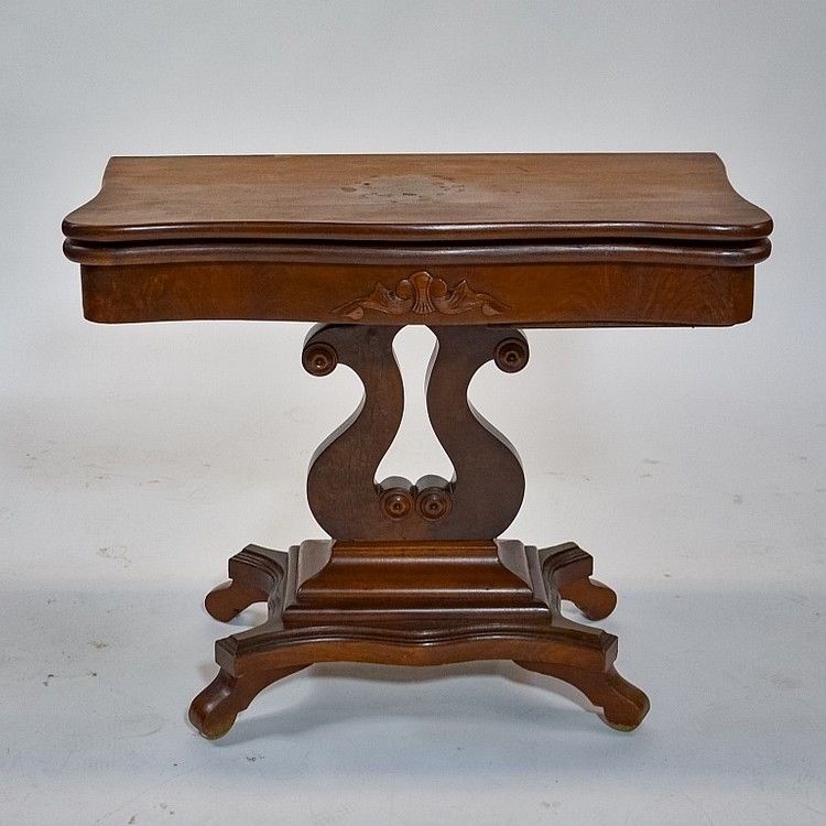 Antique 19C. American Empire Mahogany Card Table