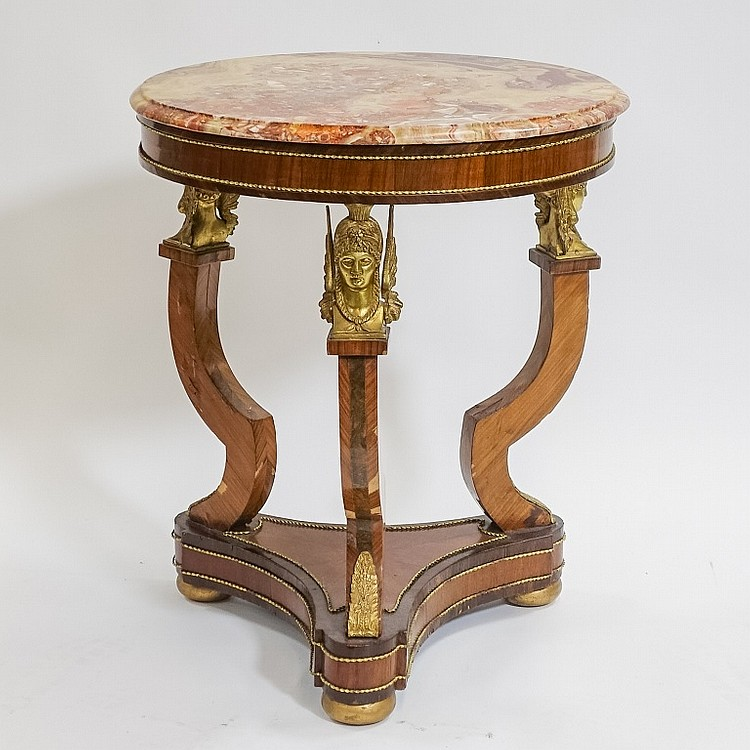 French Egyptian Revival Bronze Ormolu Inlaid Table