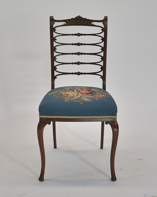 English Regency Brass Inlaid Needlepoint Chair