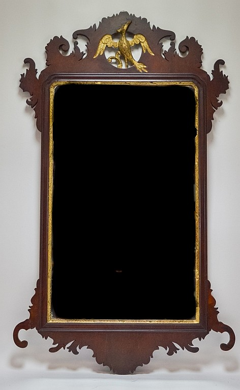 Centennial Chippendale Style Mahogany Eagle Mirror