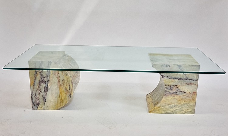 Vintage Designer MCM Marble & Glass Coffee Table