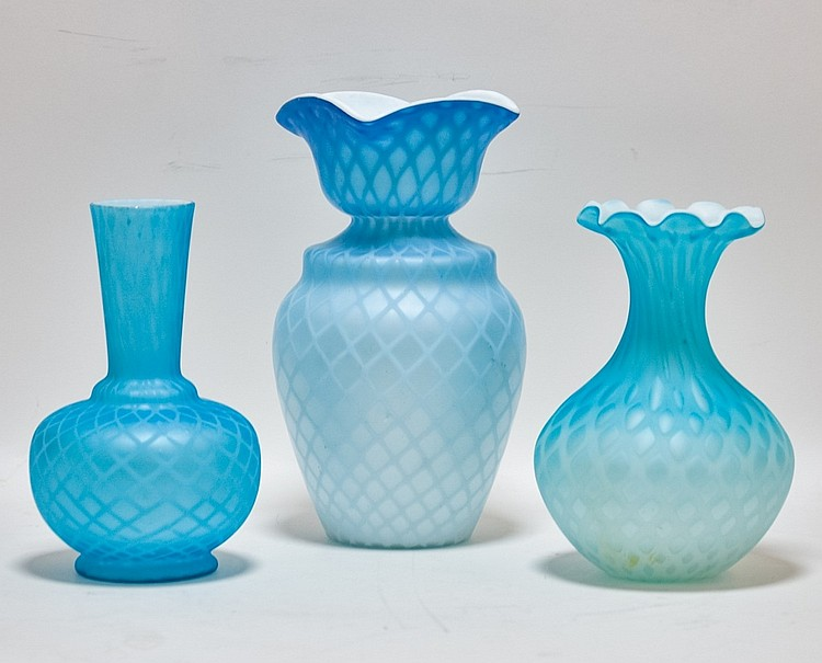 3 Mt. Washington Diamond Quilted Satin Glass Vases
