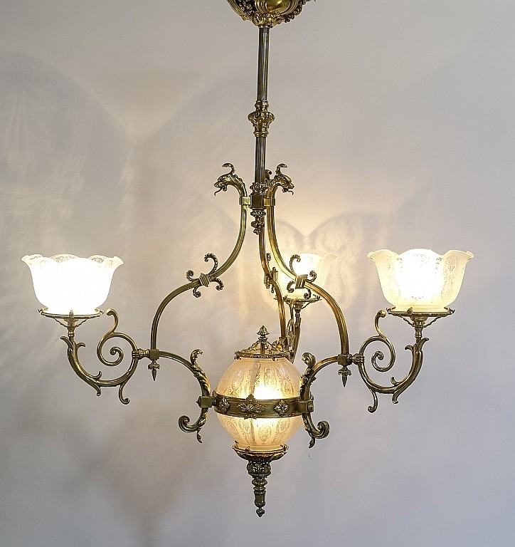 Antique Victorian Gilt Brass & Globe Chandelier