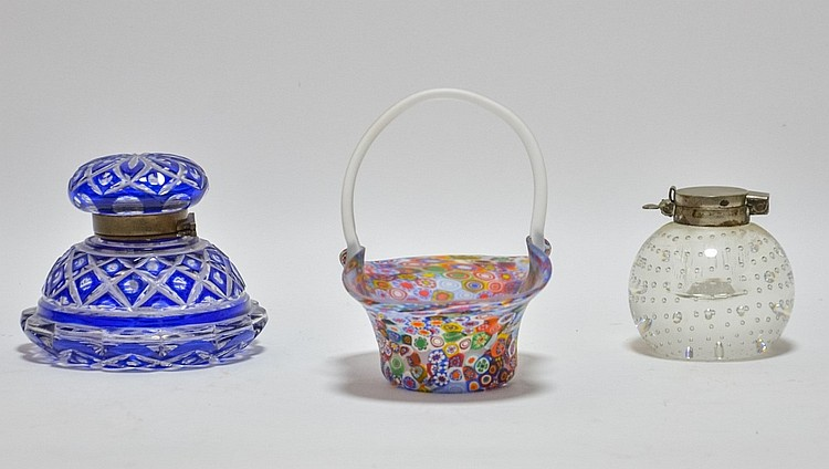 2 Art Glass Inkwells & Italian Millefiori Basket