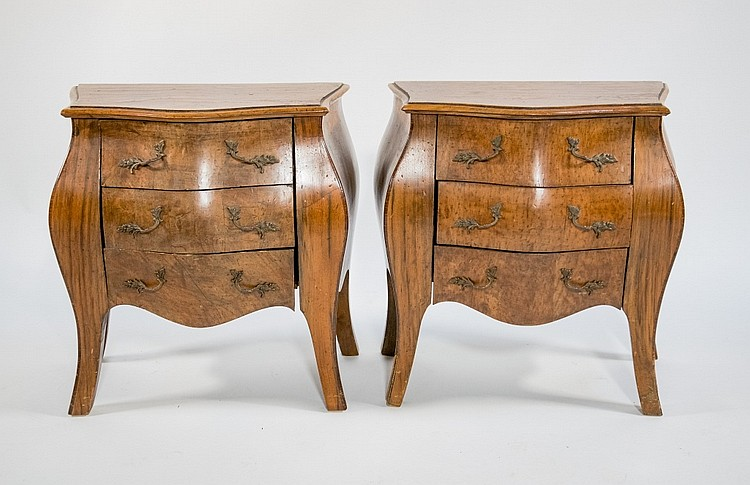 Pair French Miniature Burl Wood Bombay Chests