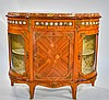 French Porcelain Medallion Glass China Cabinet