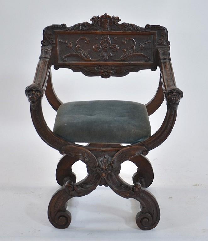 Italian Renaissance Revival X Frame Chair