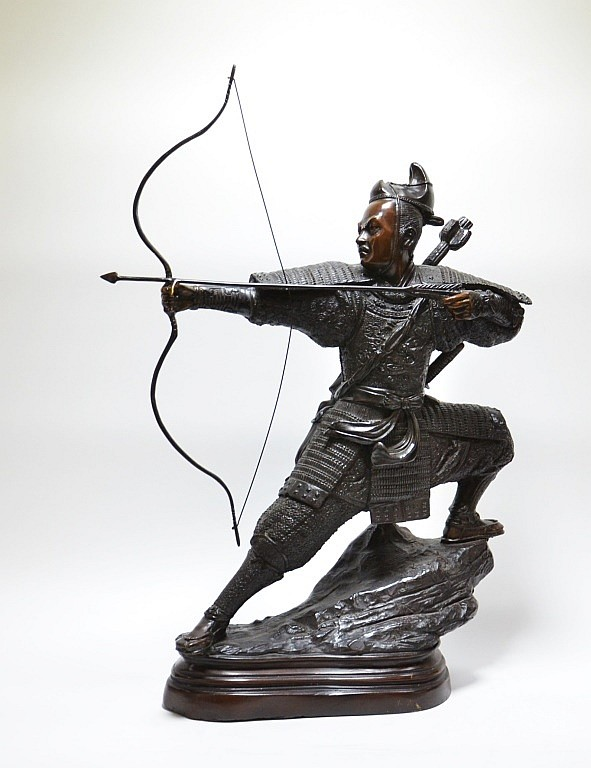 Signed A. Lariat Samurai Warrior Bronze Sculpture