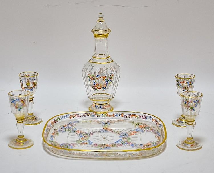 Austrian J.L. Lobmeyr Enamel Cut Glass Cordial Set