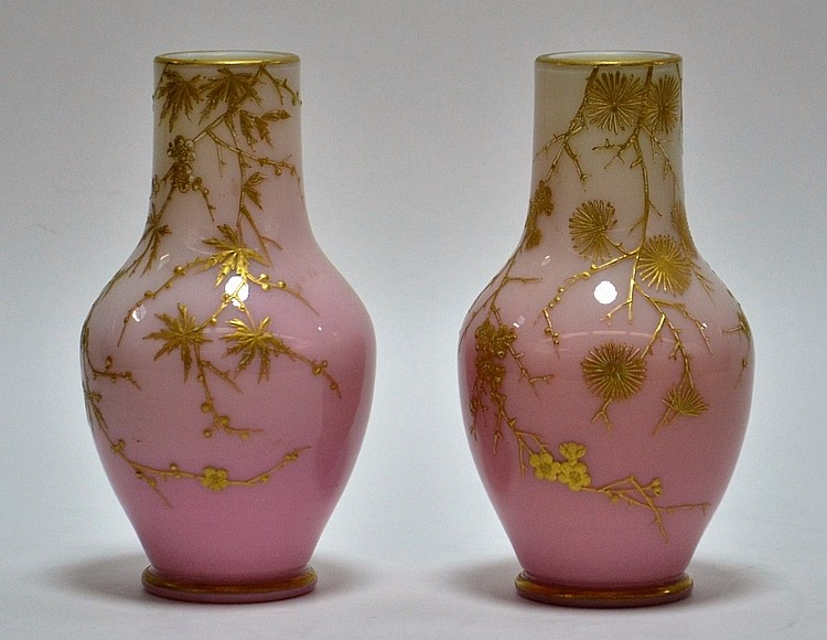 PR. Mt. Washington Peachblow Gilt Enamel Vases