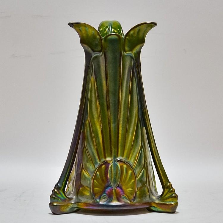 Heliosine Ware Austrian Pottery Iridescent Vase