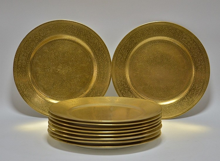 10 English Cauldon Gilt Porcelain Dinner Plates