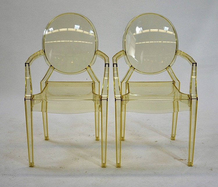 Two Kartell Louis Ghost Chairs by Philippe Starck