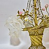 1920's French Porcelain Brass Basket Chandelier