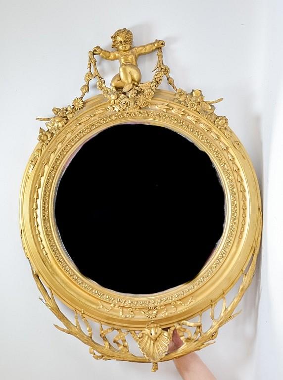 Italian Rococo Round Cherub & Branch Gilt Mirror