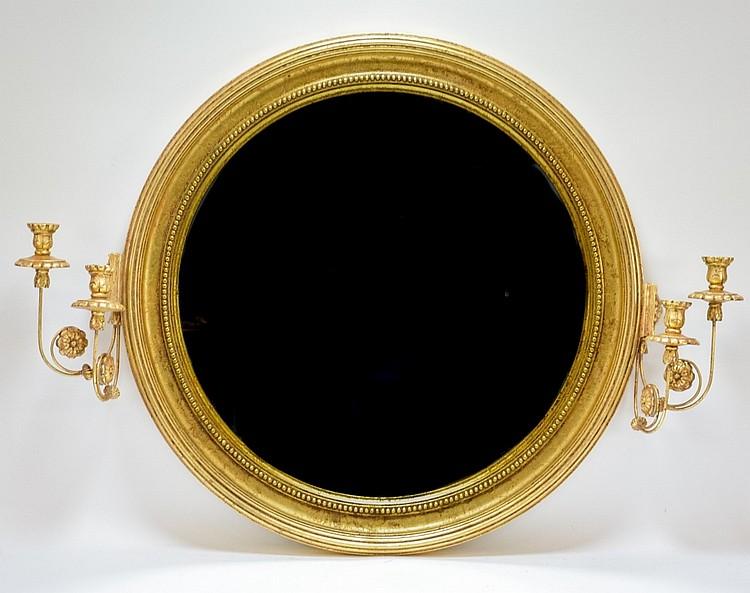 Round Gilt Candelabra Sconce Candlestick Mirror