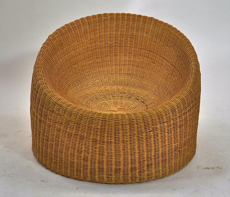 Eero Aarnio Finish Designed Wicker Lounge Chair