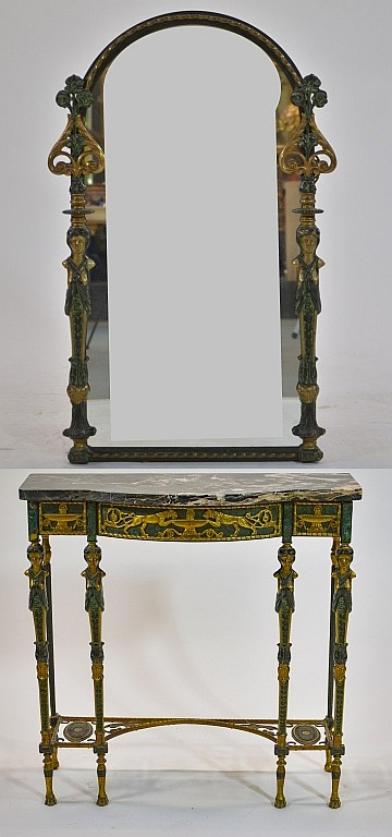 Oscar Bach Bronze Malachite Finish Table w/ Mirror