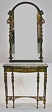 Oscar Bach Bronze Malachite Finish Table w/ Mirror