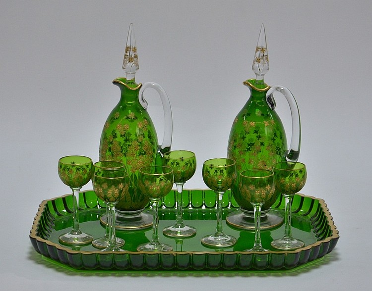 Czech Bohemian Gilt Flowers Art Glass Cordial Set