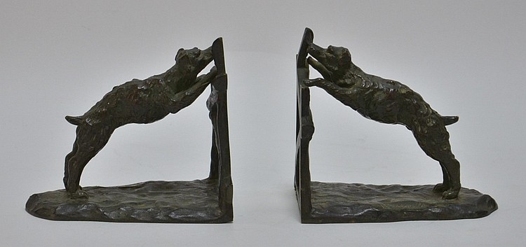 Pr. Louis Fontinelle French Bronze Dog Bookends