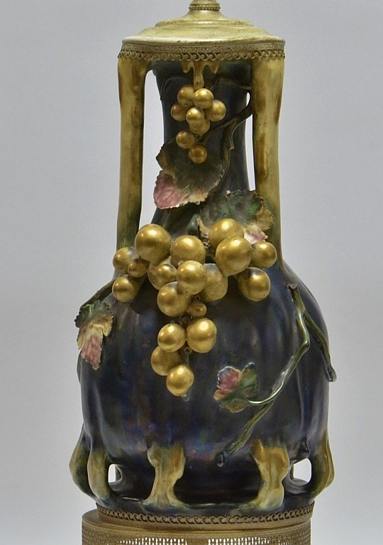Austrian Amphora Teplitz Pottery Fruit Vase Lamp